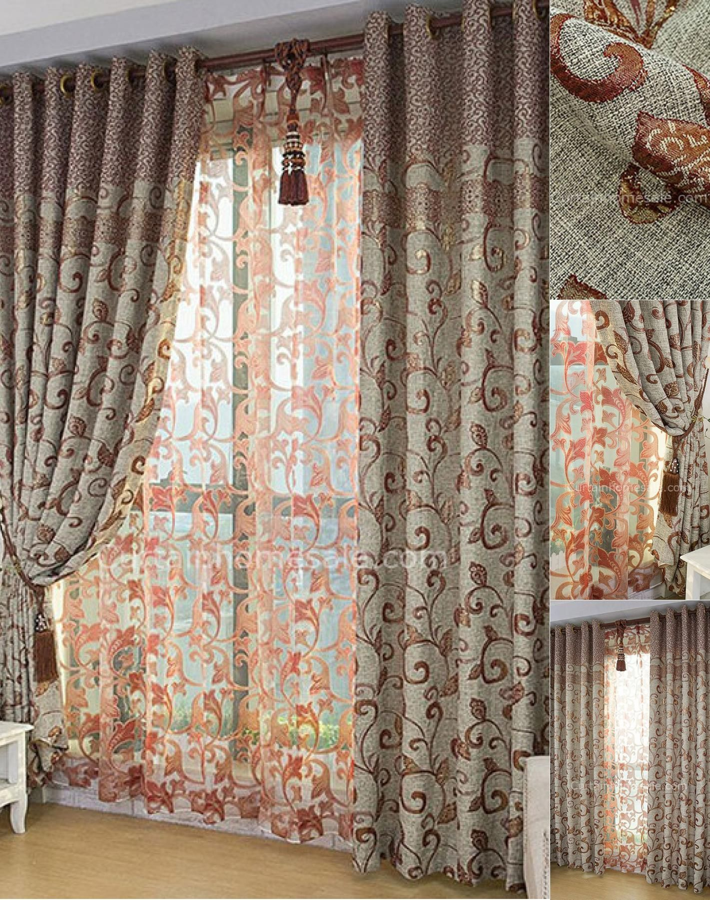 chairs curtains brown home with decor of great classic curtain eyelet window patterned