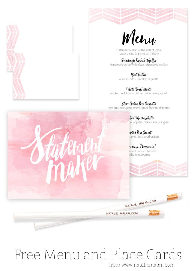 Alt Dinner Free Watercolor Menu And Place Cards Natalie Malan Printable Place Cards Wedding Watercolor Menu Place Cards