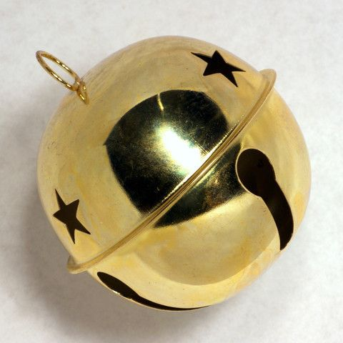 These large gold colored jingle bells that are useful for many Christmas arts and craftsapplications! Jingle bells have stars cutouts on the top half of the bell as shown and have a metal hanging loop at the top. A glass marble in each bell provides the familiar slushing sleigh bell sounds.         Bells available in 40mm (slightly larger than 1.5 inches), 58mm (slightly larger than 2.25 inches) or 85mm (slightly larger than 3.25 inches).      12 bells per package.