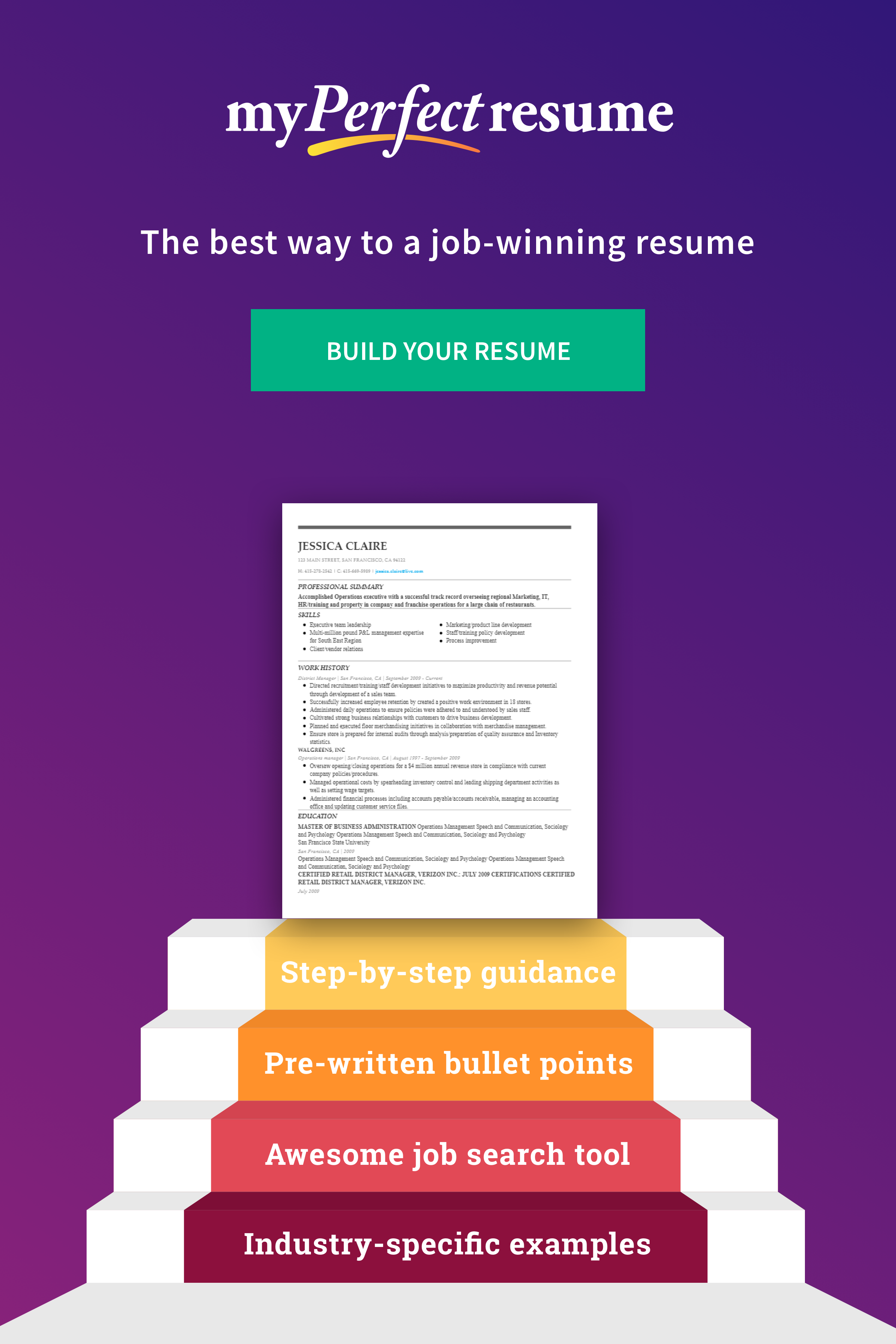 Step By Step Resume My Perfect Resume Guides You Stepstep To A Jobwinning Resume .