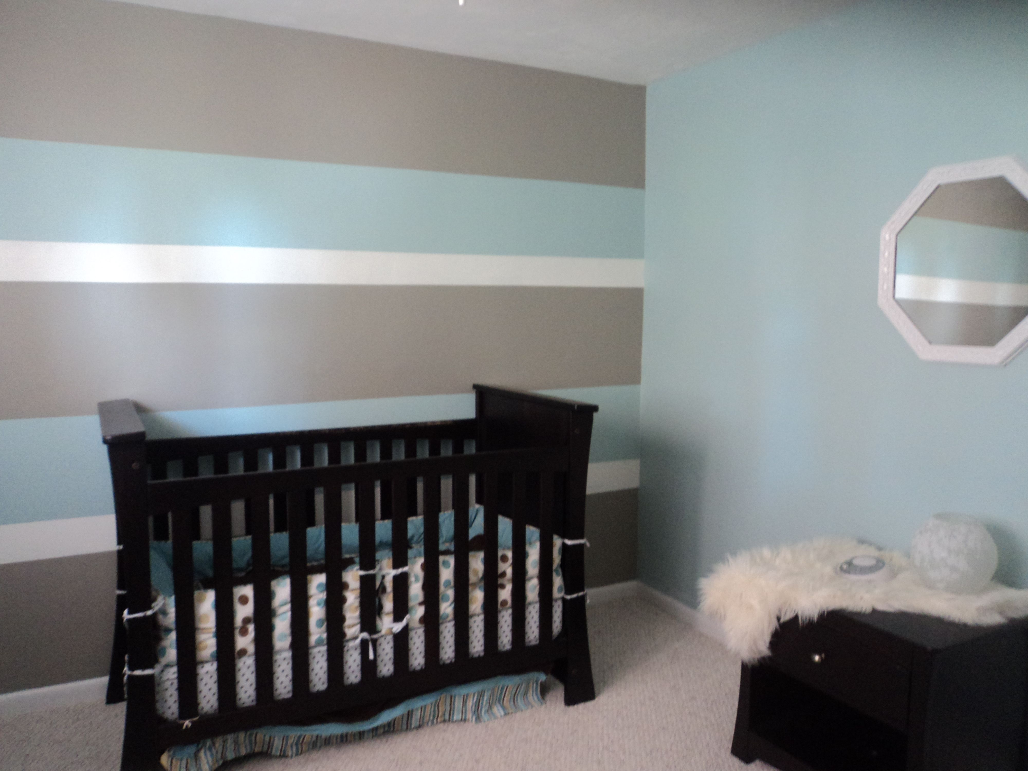 My son\u0027s first nursery...Hubby and I painted 3 toned horizontal ...