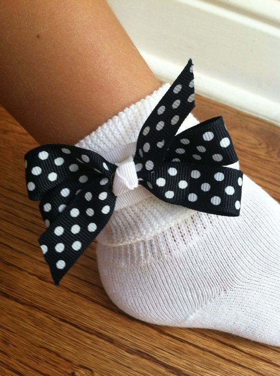 Navy Blue with White Polka Dots Velcro Bow