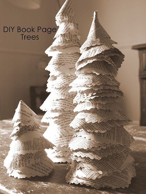 Book Page Christmas Trees Christmas Trees Pinterest Cone trees