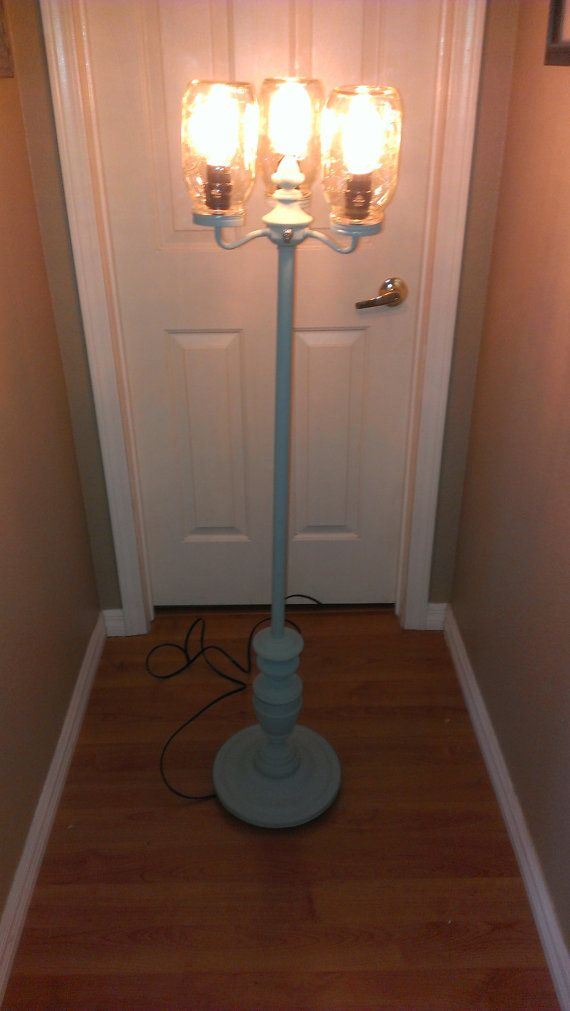 Vintage Floor Lamp With Mason Jars And Reissued Edison Bulbs