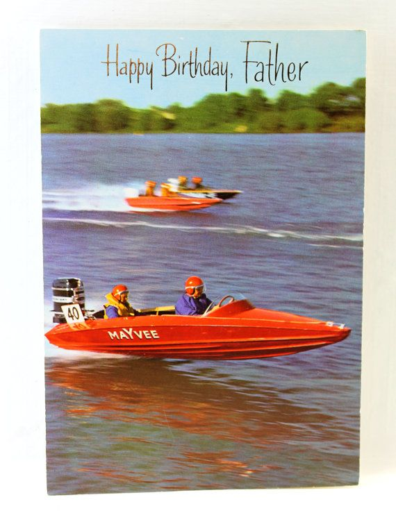 Happy Birthday Father Racing Boat Card By Hobartcollectables With