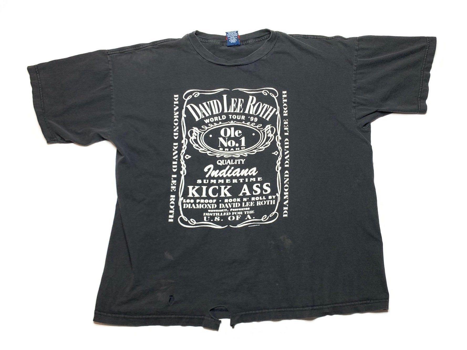 David Lee Roth World Tour Shirt 1999 Vintage Rare Rock Music Tshirt Vtg 90s Van Halen Band Jack Daniels Inspired Logo S In 2020 Music Tshirts Tour Shirt Distressed Tee