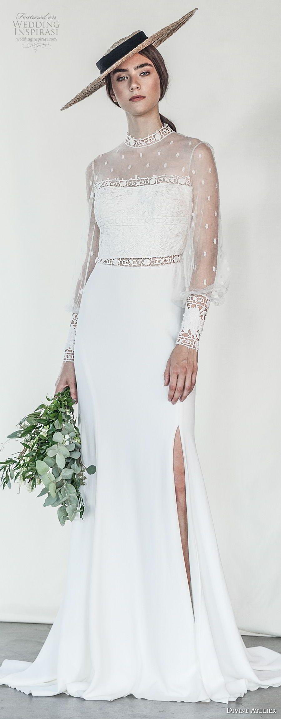 Divine atelier wedding dresses divine atelier slit skirt and