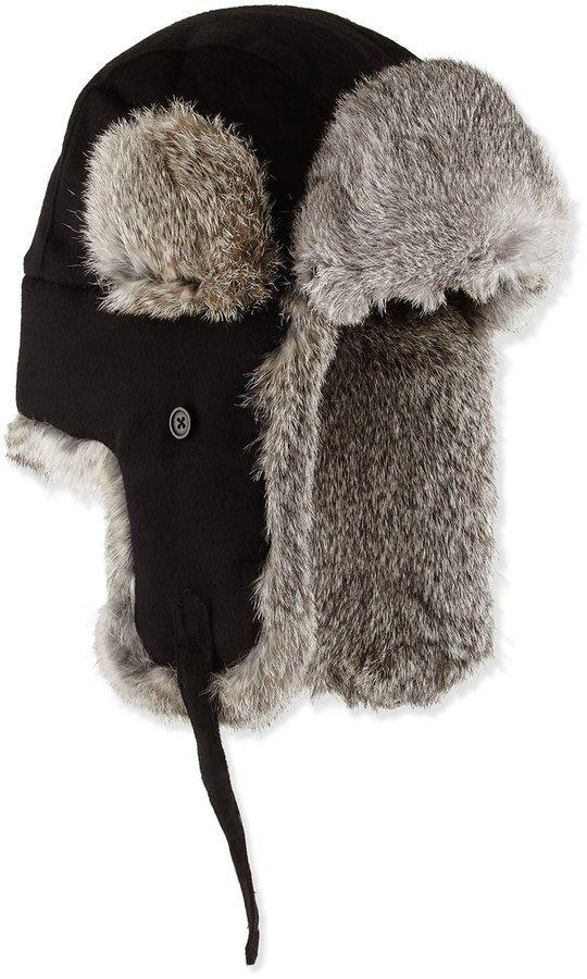 Neiman Marcus Fur-Trim Trapper Hat 16358c6c8afd