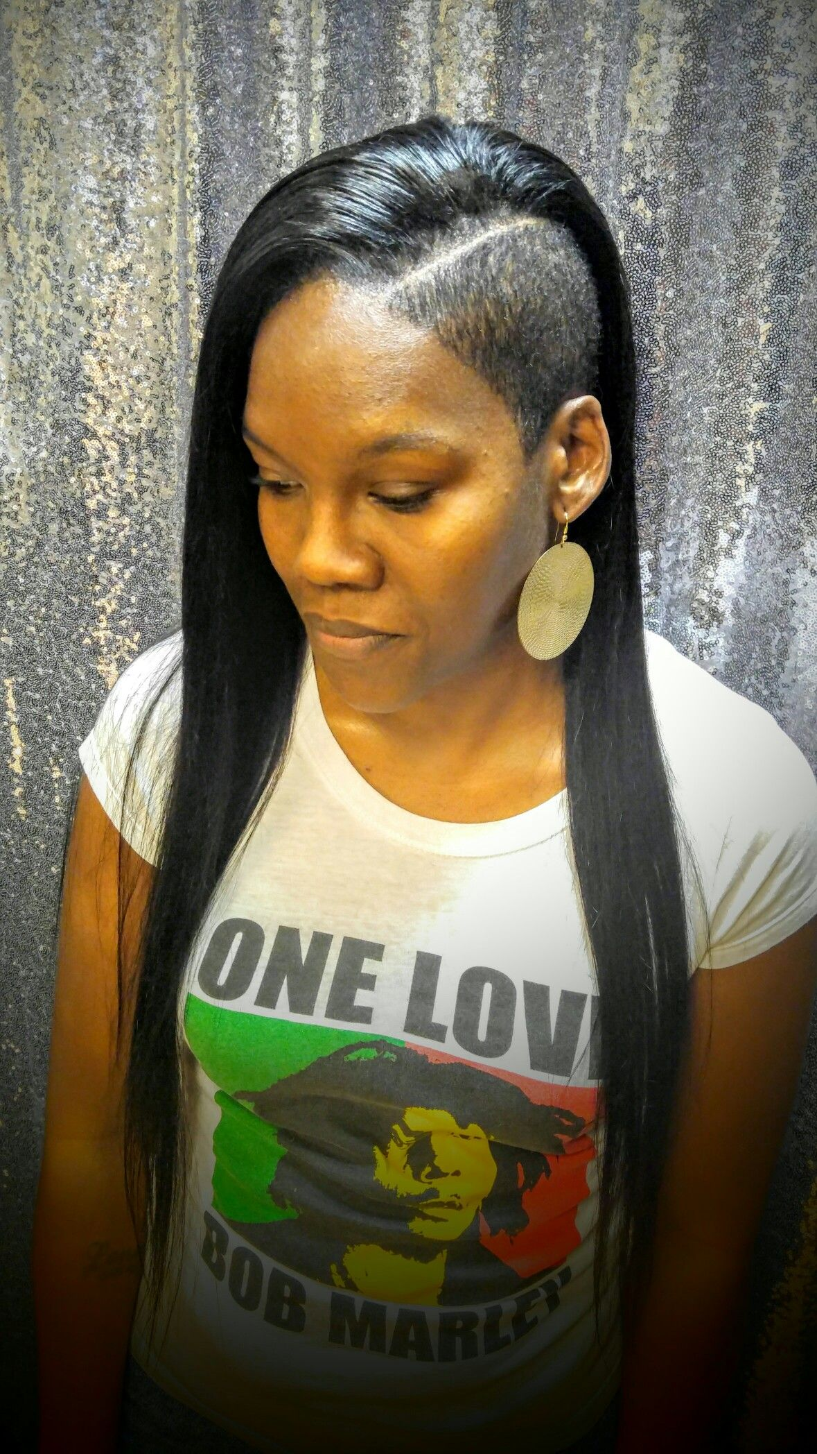 edgy sew in with shaved sides   my hairstyles   hair styles