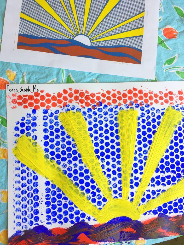 Lichtenstein Artist study-  bubble wrap art