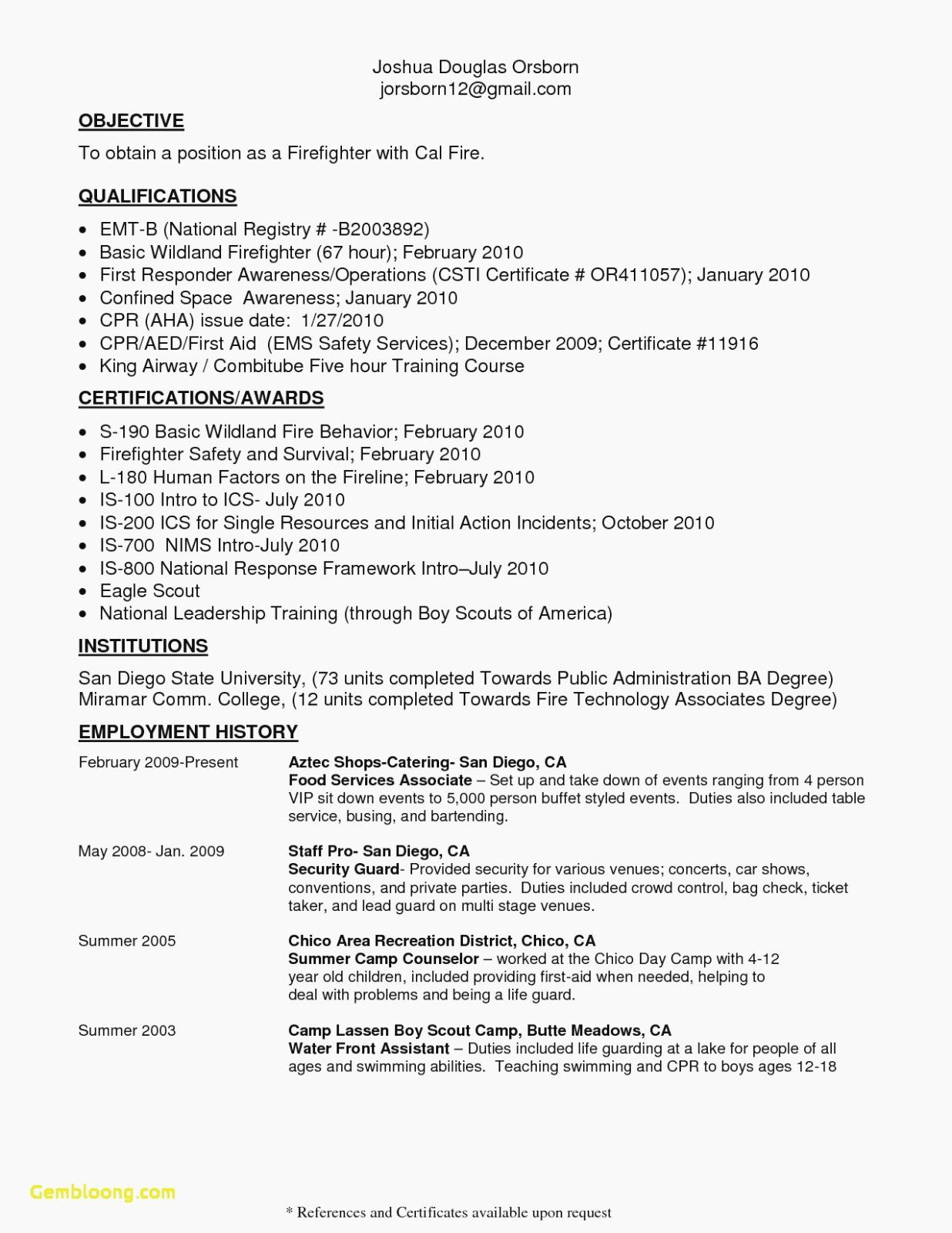 20 Firefighter Job Description Resume Firefighter Resume