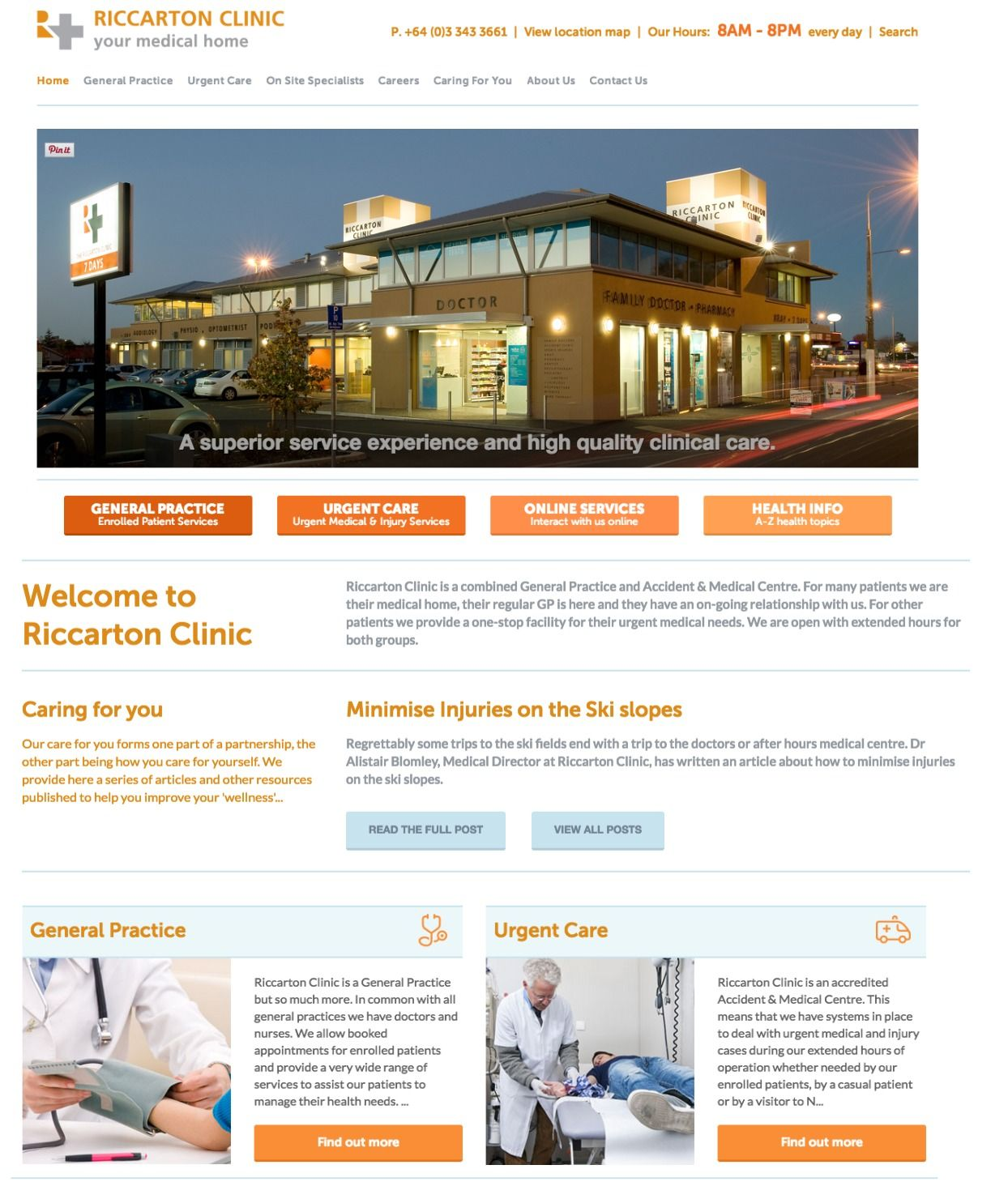Website design for Riccarton Clinic, a combined General