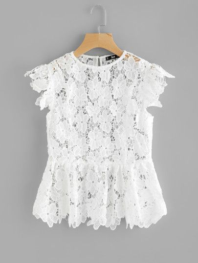 8438b6ab2d8796 See Through Floral Guipure Lace Top | BLUSAS | Lace top outfits ...