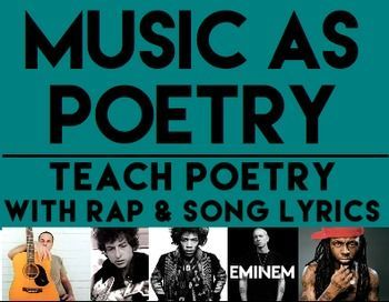 MUSIC AS POETRY Teach Poetry With Rap Song Lyrics This NO PREP Packet Is Everything You Need To Through Music Students Learn About Rhyme