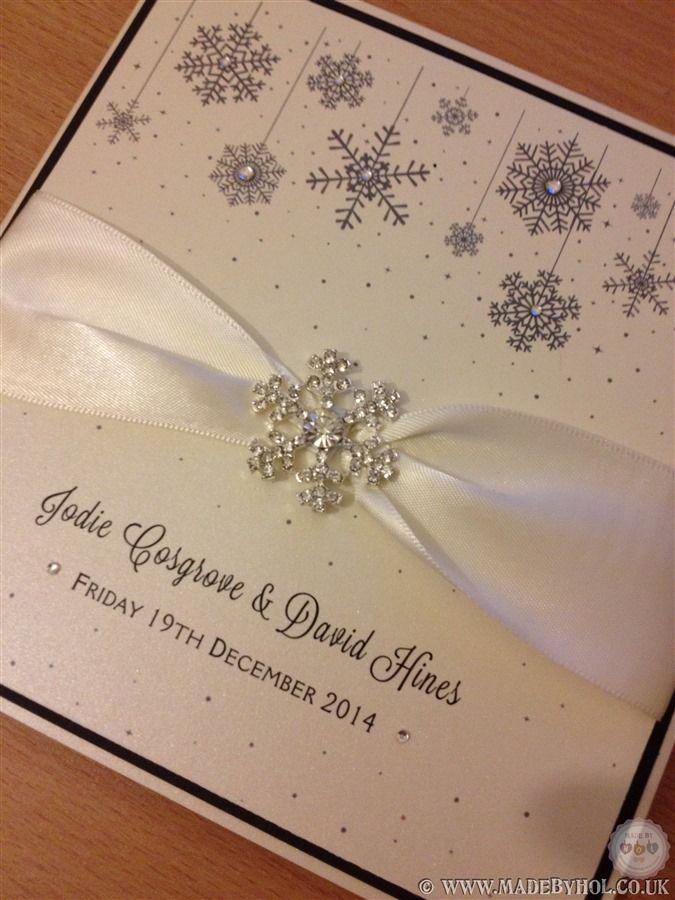 Beautiful bespoke winter themed wedding stationery with crystal embellishment - www.madebyhol.co.uk