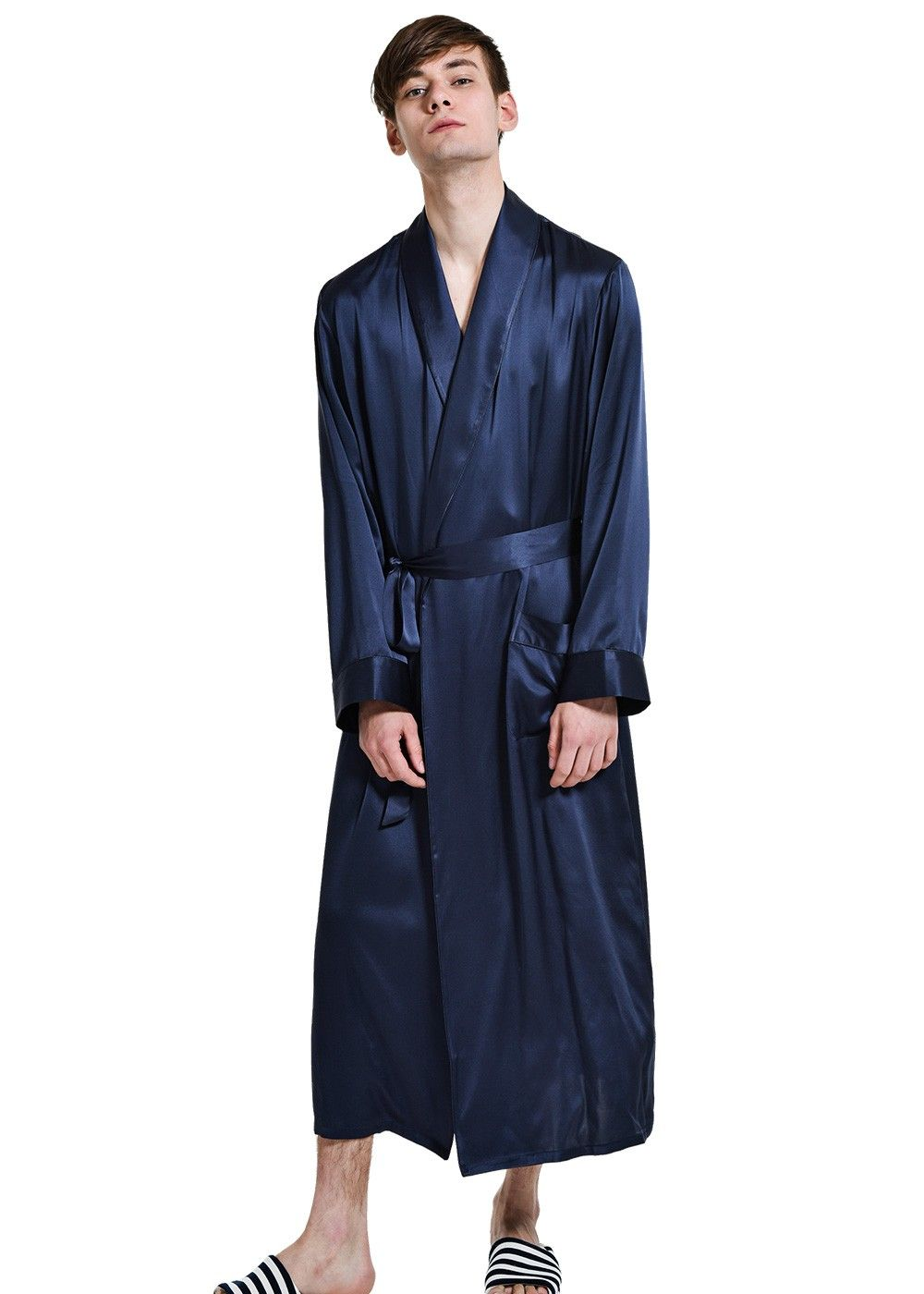 ba73208dc9 Men s Classic Long Silk Robe Dressing Gown