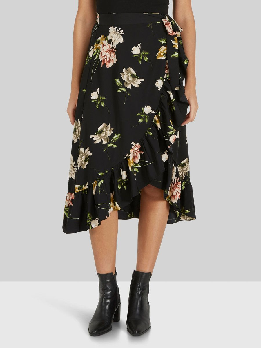 ce8180534 Floral wrap skirt from Y.A.S | With flounces at the edges | Adjustable  waist | With lining