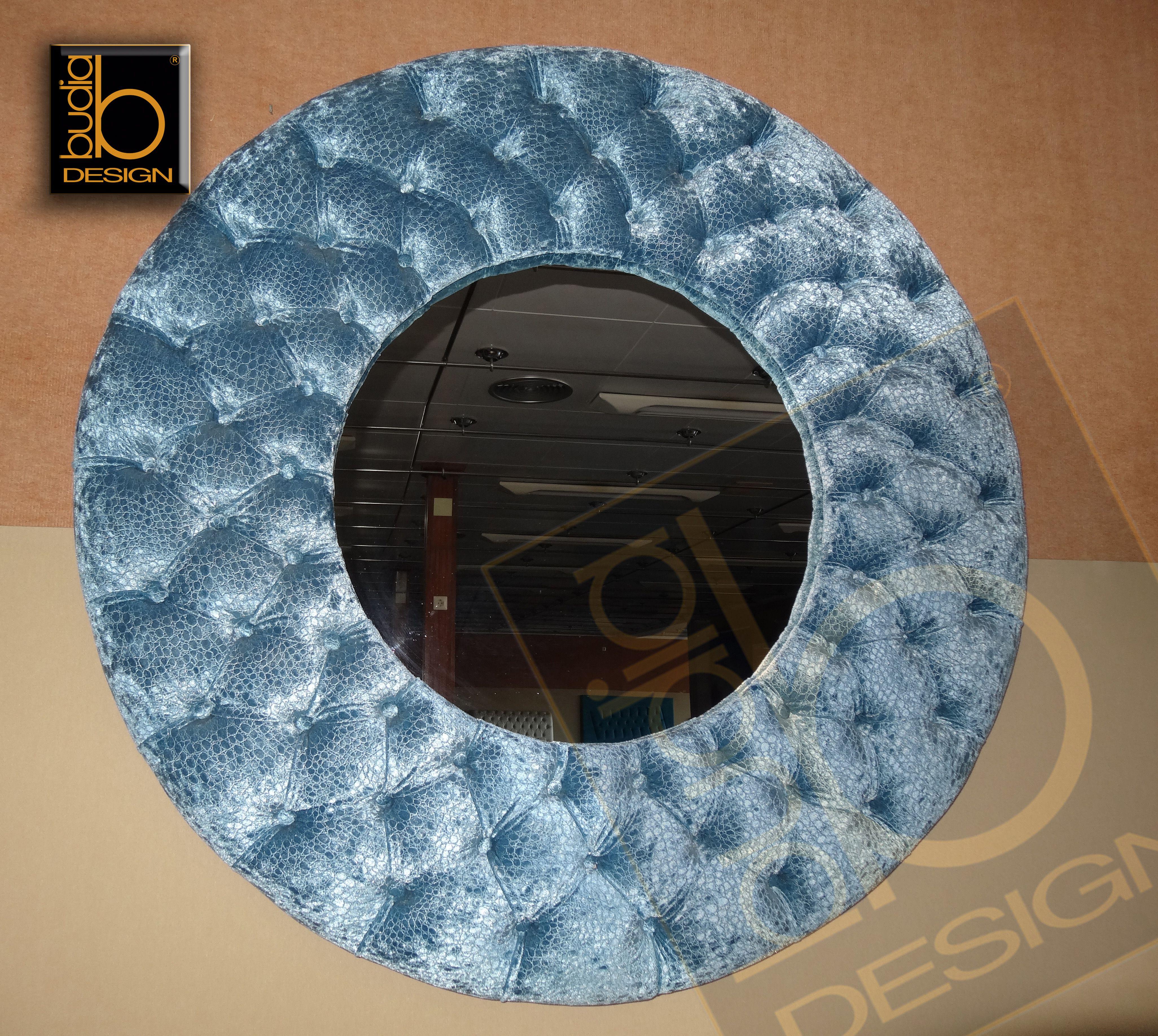 Espejo Marsella Redondo Tapizado En Capitone Artesano Tejido Terciopelo Celeste Espejos Marcos Para Espejos Espejos Decorativos
