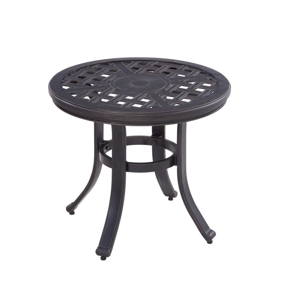 Strange Hampton Bay Covina Round Aluminum Outdoor Side Table Alphanode Cool Chair Designs And Ideas Alphanodeonline