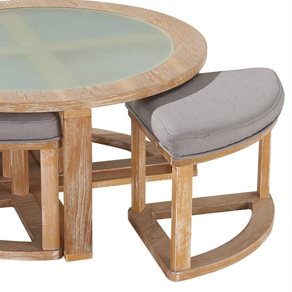 Oandk Furniture Round Coffee Table With 4 Nesting Stools Cocktail Height Coffee Table With Frosted Glass 5pieces Set Round Coffee Table Furniture Coffee Table [ jpg ]
