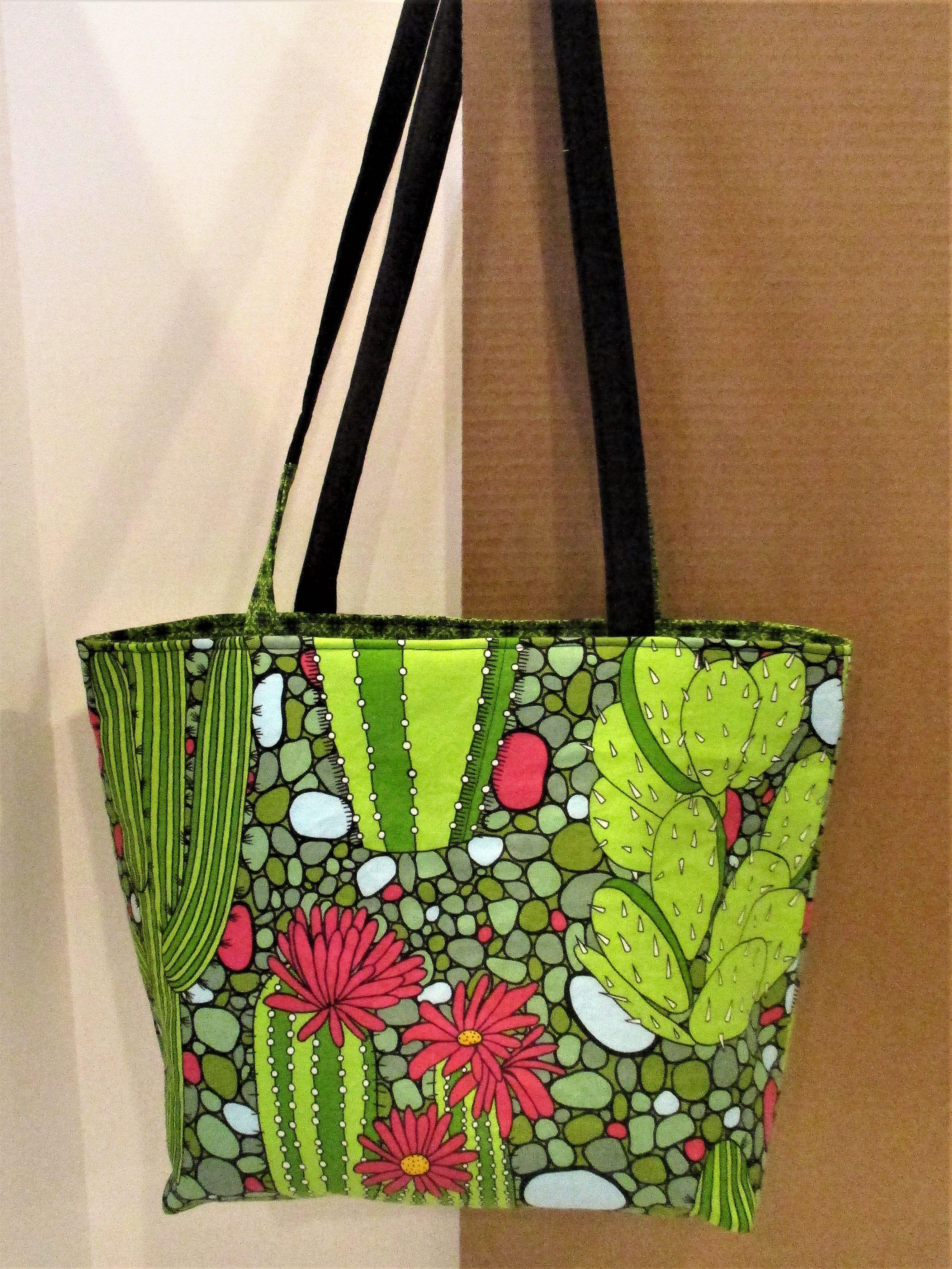4ddb2f693d81 Handmade Tote Bag with Pocket, Cactus Cotton Fabric Handbag, Travel ...