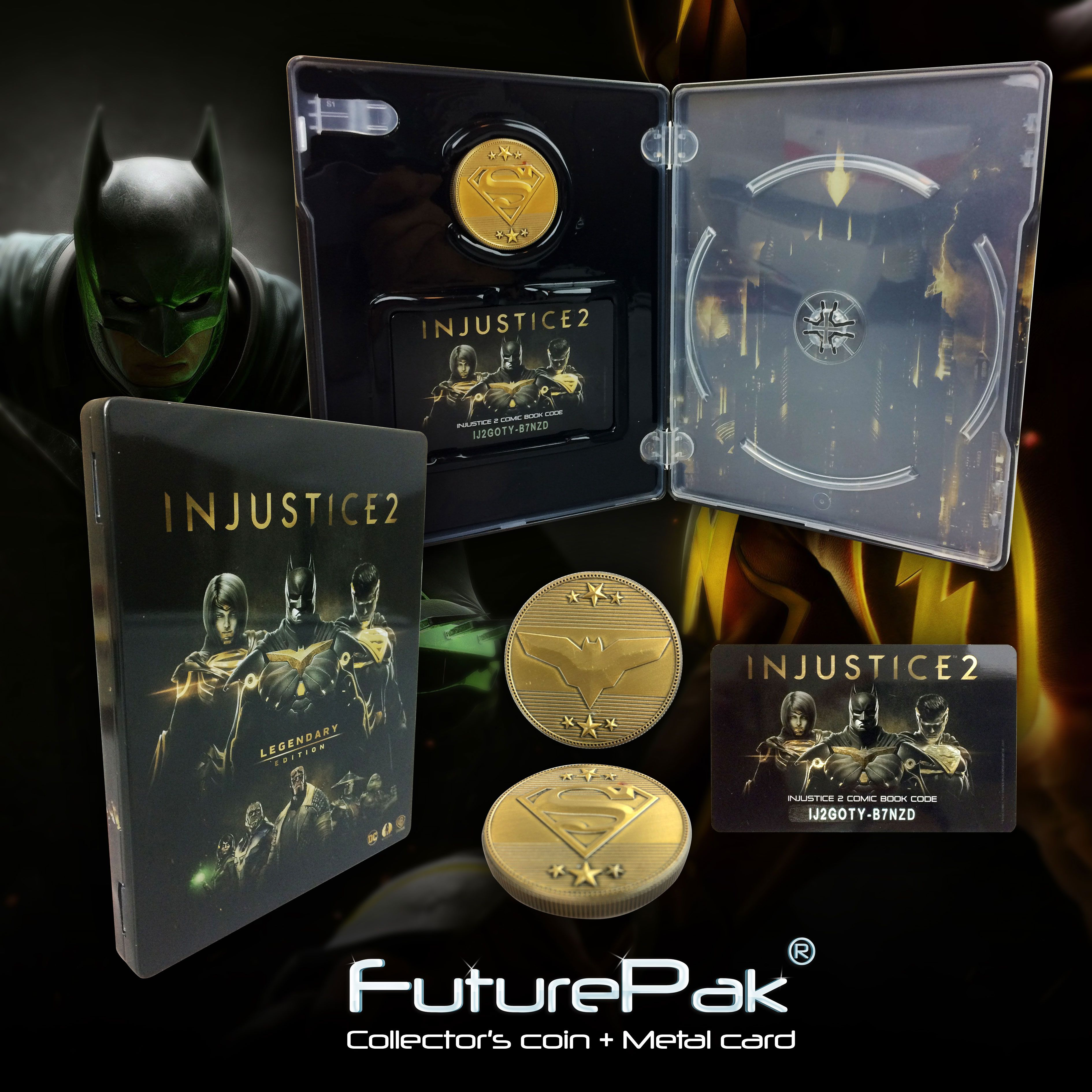 Check It Out Special Edition Futurepak With Collector S Coin And Metal Card For Injustice 2 Legendary Edition No Injustice 2 Action Figures Cards