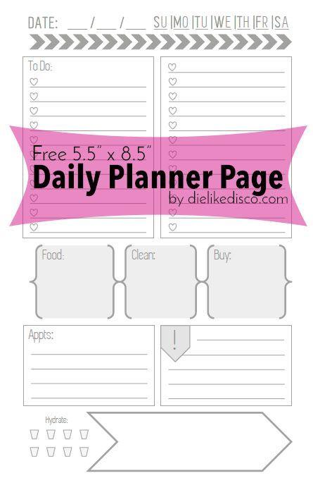 Free  X  Daily Planner Page Printable  Organizacin