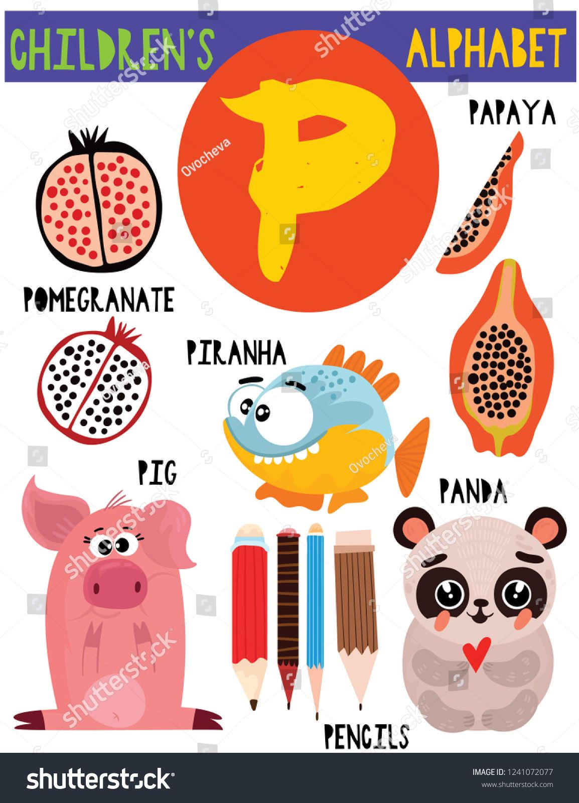 Letter P Cute Children S Alphabet With Adorable Animals And Other Things Poster For Kids Learning English Vocabu Childrens Alphabet Animal Posters Cute Animals