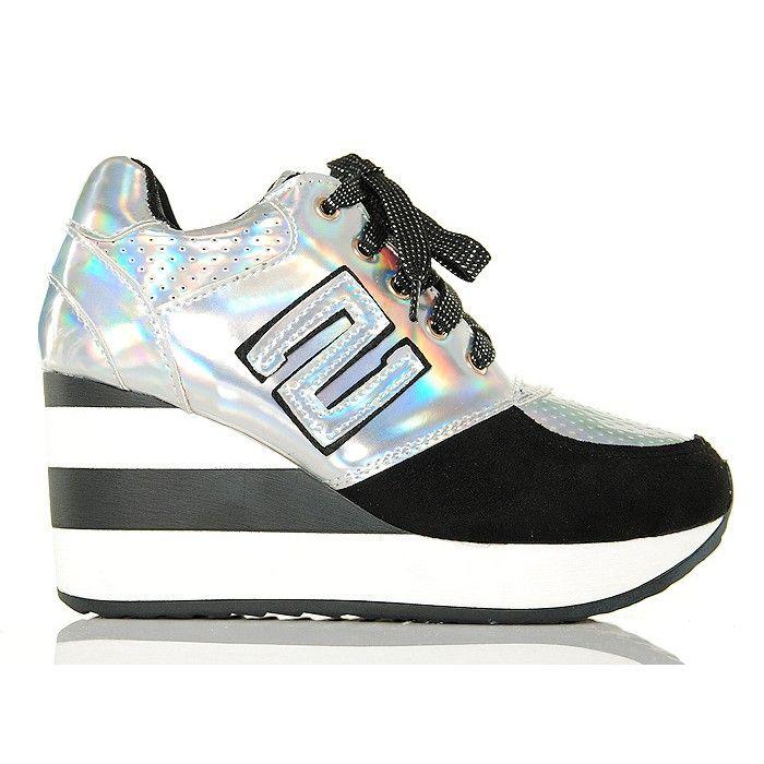 01a1d93701423 Sneakersy - Czarno Srebrne Krótkie Koturny w Paski - www.BUU.pl #black # silver #shoes