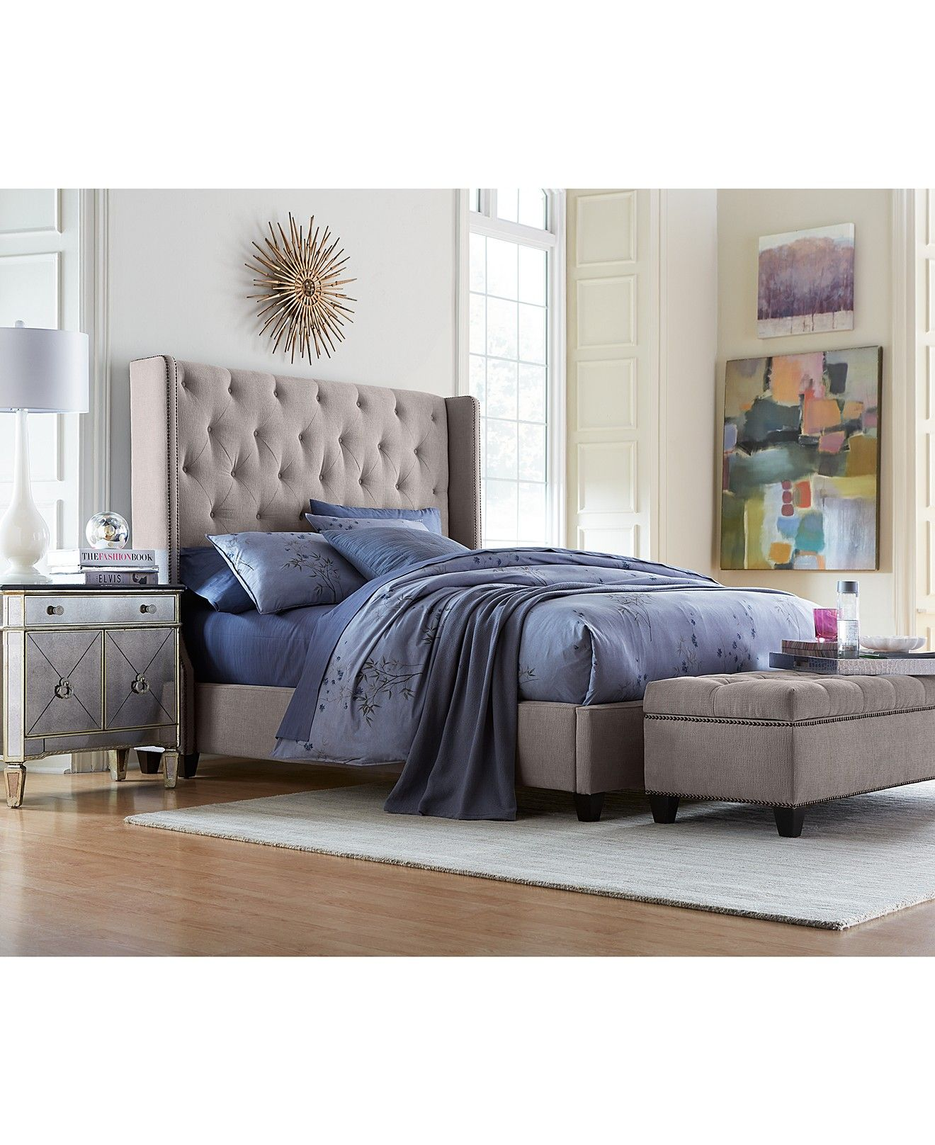 Rosalind Upholstered Bedroom Furniture | Bedrooms, Nailhead trim ...
