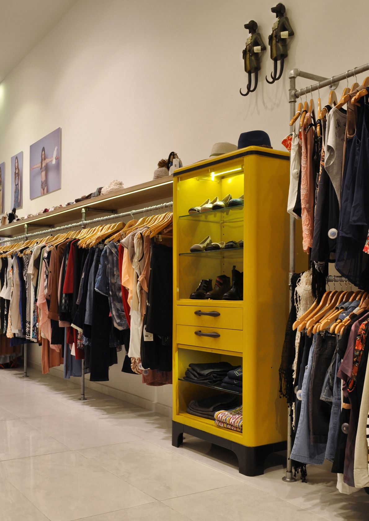 Cala fashion boutique, pipe closet rods & vintage style cabinet ...