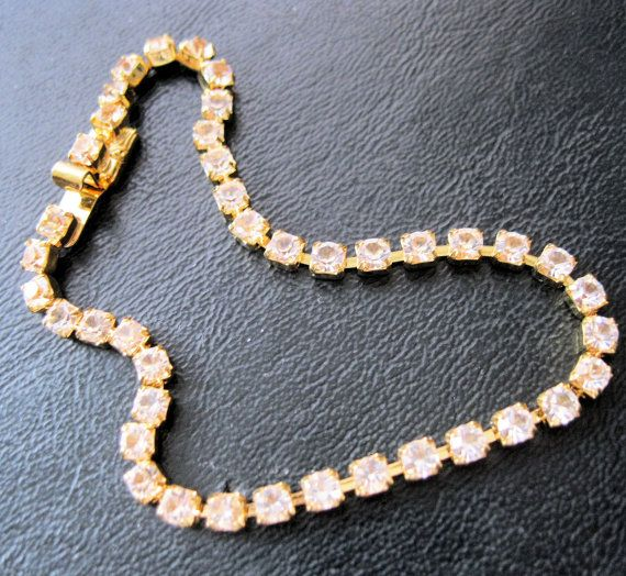 MONET 1980s Tennis Bracelet Rhinestone Gold by BrightEyesTreasures, $15.00