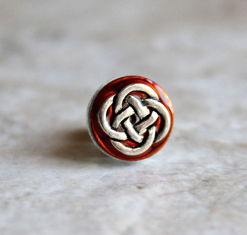 orange celtic knot tie tack, mens jewelry, irish tie tack, celtic ...