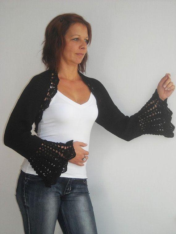 Hand knit crochet shrug black bolero size ML long by wincsike ...