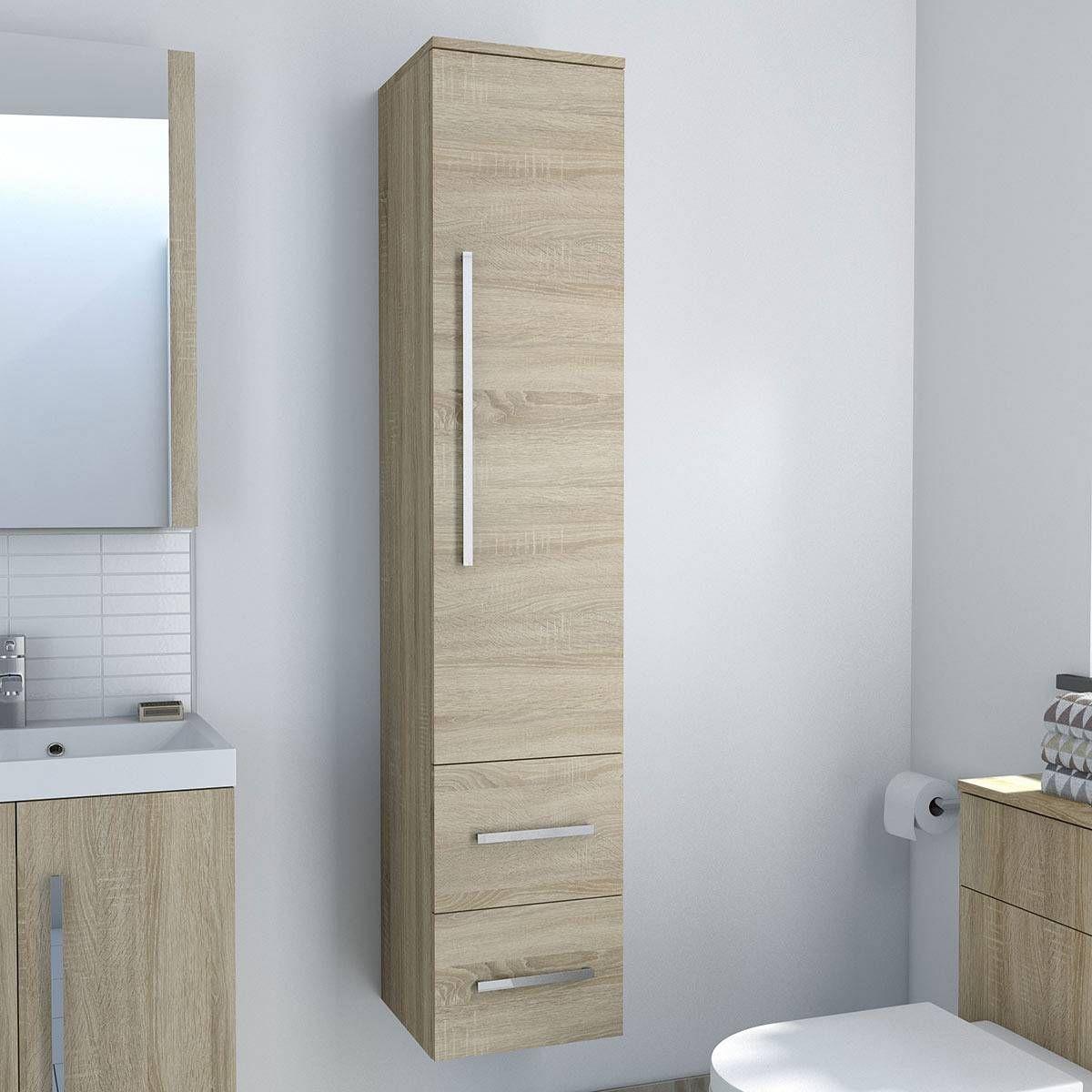 Drift oak wall hung tall storage unit | Bathroom furniture, Oak ...