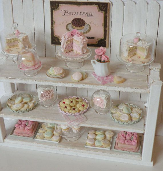 reserved miniature shabby chic bakery counter kawaii miniatur und fimo. Black Bedroom Furniture Sets. Home Design Ideas