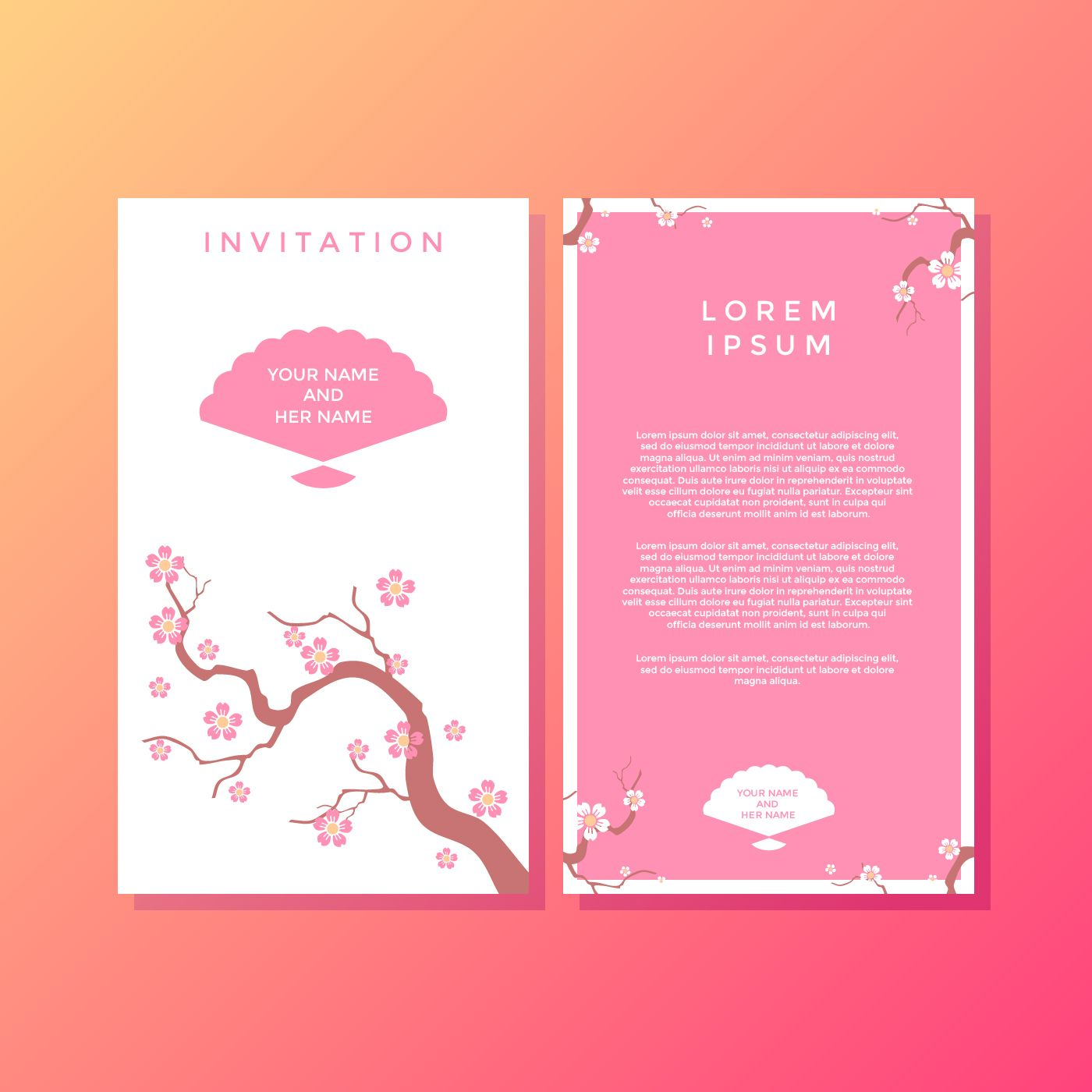Sakura Japanese Style Invitation Template Vector  Invitation
