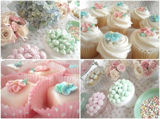 Pastel Cupcakes and petit fours