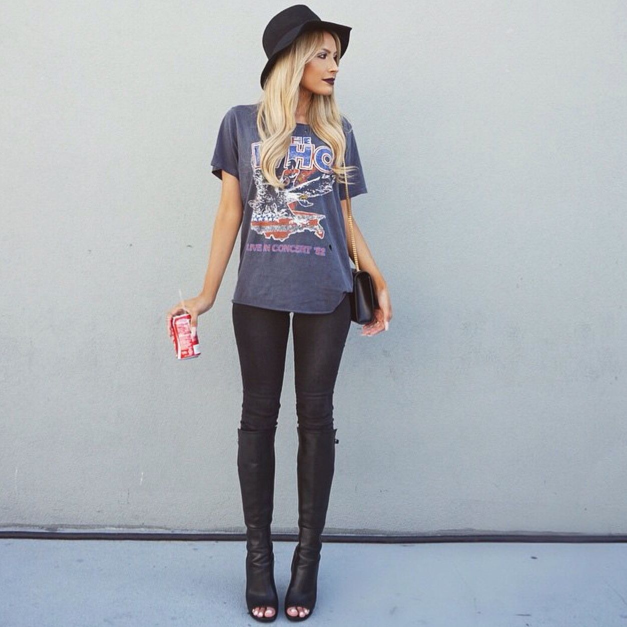 Black t shirt outfit - The Who Band Tee Open Toed Boots Black Hat With A Leather Skirt