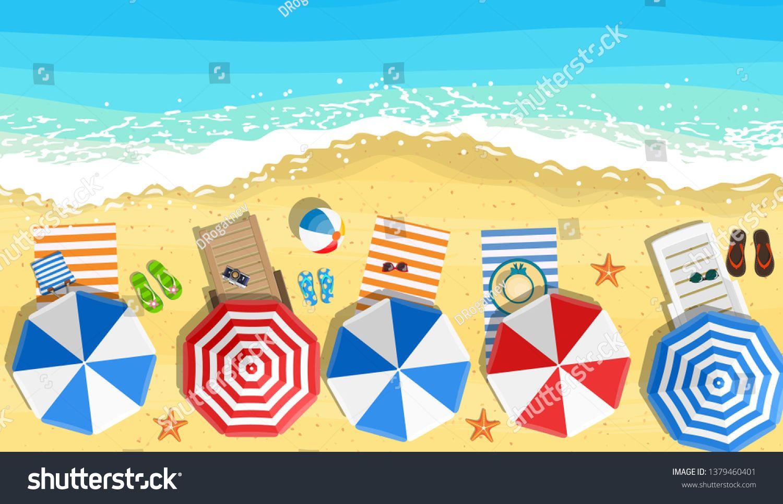 beach sun umbrellas flipflops and beach Mat on the