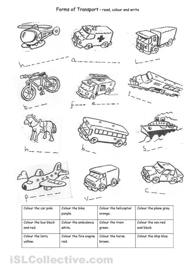 Transport worksheet for spelling and colouring practice