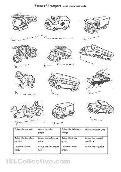 means of transportation worksheets pdf