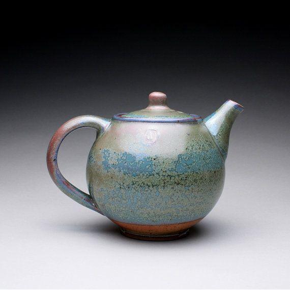 Handmade Ceramic Teapot Tea Kettle With Green By Rmoralespottery 100 00 Tea Pots Ceramic Teapots Handmade Teapot