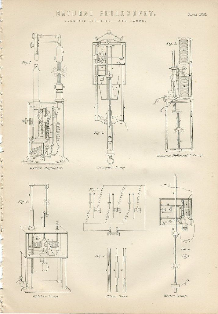 1890 old electric lighting arc lamps antique lithograph print neil ebay