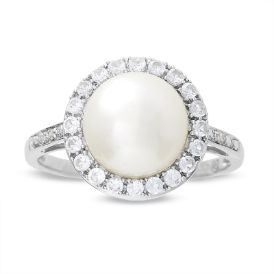 Zales Cultured Freshwater Pearl and White Topaz Crossover Ring in Sterling Silver 9gXtjQnXK