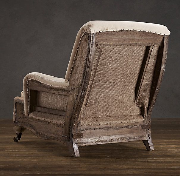 Deconstructed English Roll Arm Chair Antiqued Cotton In