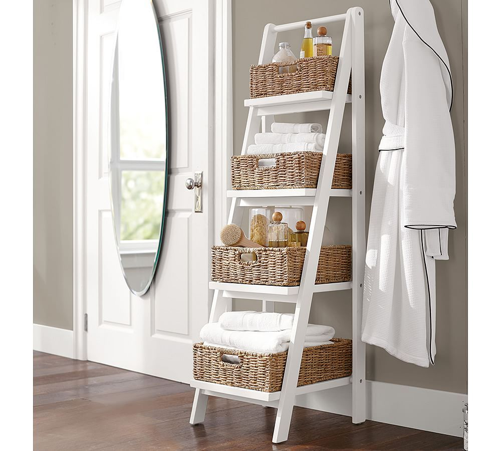Ainsley ladder floor storage with baskets addition ideas - Bathroom storage baskets shelves ...