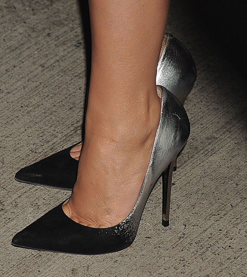 55504e31fbf jimmy choo  anouk  in black and silver ombre on the feet of kylie minogue   shoeporn  celebrityshoes  actionshot