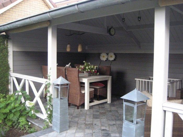 Veranda in hout en wit en grijs tuin pinterest for Open veranda design