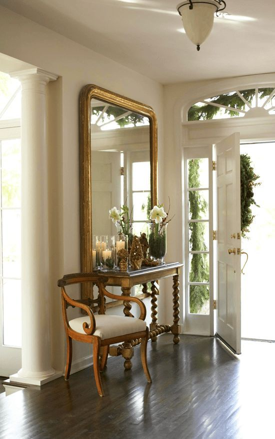 Traditional Home mirrors front hall foyer photo by Colleen Duffley